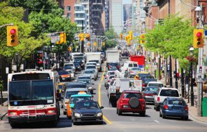 A traffic corridor in Toronto. Optibus helps transit providers unclog urban arteries with high-tech multi-route planning.